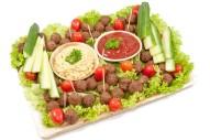 48er Mini Partyfrikadellen Platte mit Senfdip und Ketchup
