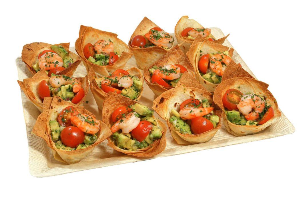 12er Tortilla Schälchen Avocado-Garnele