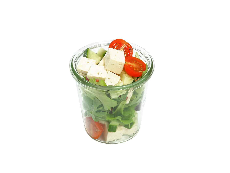 Tofu Rucola Salat im Weckglas