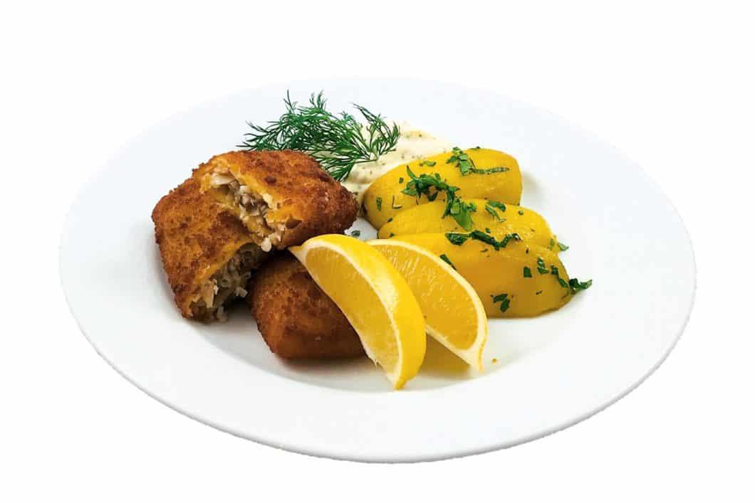 Backfisch mit Salzkartoffeln