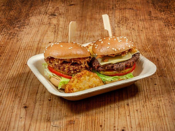 4er Mini Platte Lunch Mix mit Mini Cheeseburger, Mini Chickenburger und Kartoffelrösti