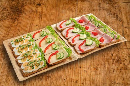 16er Vollkorn-Brötchen Platte belegt mit Käse, Ei, Putenbrust und Kochschinken